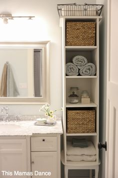Bathroom Linen Cabinets: (Linen Storage Ideas) linen closet, linen cabinet, towel storage ideas Source by merabethriggs The post These Bathroom Storage Solutions Are Serious Game-Changers appeared first on Bennett Bathroom Cabinets. Bathroom Linen Cabinet, Bathroom Towel Storage, Bathroom Storage Solutions, Bathroom Towels, Bathroom Organization, Organization Ideas, Bathroom Shelves, Bathroom Vanities, Bathroom Ideas