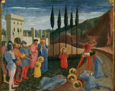 by Fra Angelico 圣科斯玛和圣达米安的斩首 1418ad 生动的线条,明快的颜色