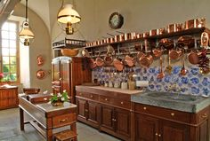 Kitchens Projects - mediterranean - kitchen countertops - new york - Ancient Surfaces Copper Kitchen, New Kitchen, Kitchen Decor, Copper Pots, Victorian Kitchen, French Country Kitchens, Colonial Kitchen, Mediterranean Home Decor, Cuisines Design