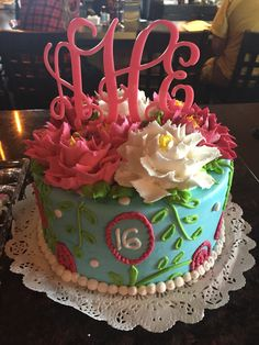 Lilly Pulitzer inspired monogrammed cake!