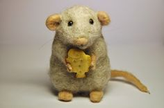 Handmade Needle Felted Wool Gray Mouse by BinneBear on Etsy