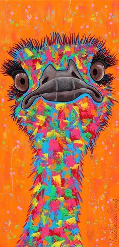 Painting Ostrich, sold! Schilderij struisvogel, verkocht!