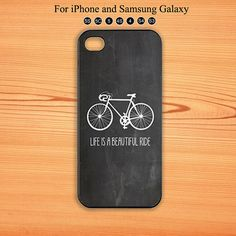 Chalkboard iPhone Case,iPhone 5 Case,Bicycle iPhone Case with Quote - Life is a Beautiful Ride Bike iPhone Cover, iPhone 4 ,Samsung Galaxy