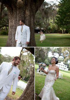 wedding first look, under a beautiful tree