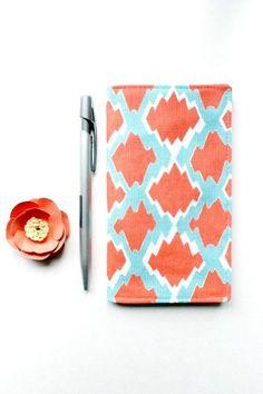Coral and Aqua Ikat Checkbook Cover