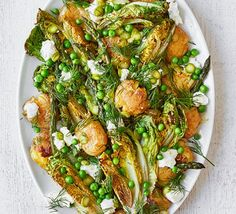 Roasted asparagus & smashed new potato salad