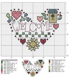 pinterest strawberry counted cross stitch patterns | Counted cross stitch Welcome sign.