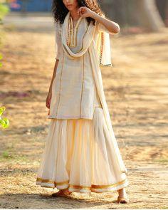 Ivory and gold sharara set by Khara Kapas | The Secret Label