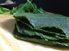 Dehydrator Spinach Wraps: spinach, zucchini, ground flax, salt and pepper