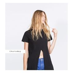 """Zara Long T-Shirt  with Cut Out Long tee with midriff baring front-vent.  Length is approx 46.5"""", cut out is about 11.5"""" from neckline.  100% cotton. True to size. NO TRAES/PAYPAL. Zara Tops Tees - Short Sleeve"""
