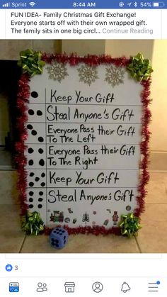 Family christmas games ideas signs New Ideas Family Christmas Gifts, Noel Christmas, Christmas Traditions, Winter Christmas, All Things Christmas, Christmas Crafts, Christmas Present Exchange Games, Christmas Ideas, Office Christmas Gifts