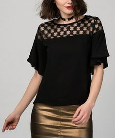 Black Openwork-Panel Flare-Sleeve Top Easter Outfit, Flare, Personal Style, Sleeves, Outfits, Tops, Women, Fashion, Moda