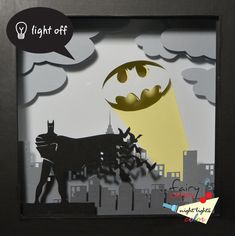 Batman shadow box with light Special night light by FairyCherry