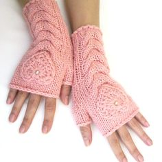 Light Pink Fingerless Gloves with a HEART -  I love these