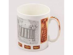 Porcelánový hrnek 750 ml - stříbrná kočka Mugs, Tableware, Dinnerware, Tablewares, Mug, Place Settings
