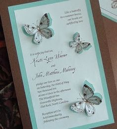 invitation with garden flowers and a butterfly