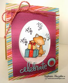 Handmade Creations by Stephanie: Happy Birthday | Cat birthday card using Newton's Birthday bash Stamp set by Newton's Nook Designs