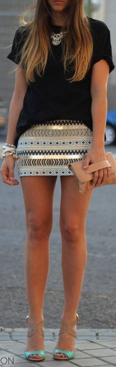 gold skirt + black – love the clutch