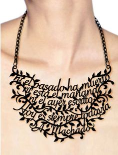 Literary necklaces by Spanish artist Victoria Contreras Flores - Wearing the Wisdom of Writers