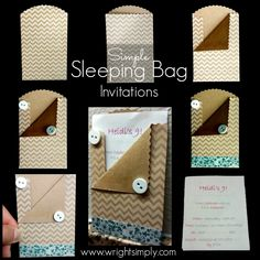 Simple Sleeping Bag invitations for a sleep over party! So cute!