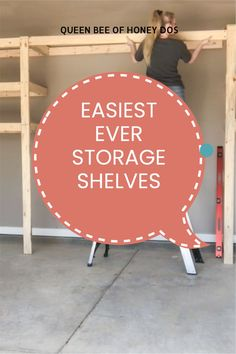 Details on building and installing your own shelves. These are so easy you can do them by yourself. I know because I did! #storage #garage #woodworking #diy #shelves Woodworking Projects Diy, Woodworking Plans, Diy Projects, Garage Storage Shelves, Shelving, Jobs For Women, Wood Pallets, Diy Furniture, How To Plan