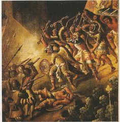 """Esta es una pintura anonima del siglo XVI que nos dice sobre la conquista de Hernan Cortez en Mexico que esta relacionado con la obra """" Segunta carta de relacion """" por Hernan Cortez"""