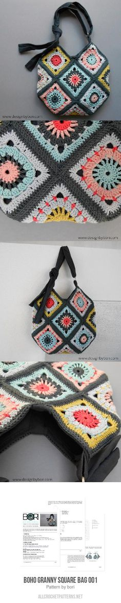 10bfe0a7e3430a Boho Granny Square Bag 001 crochet pattern Cute Crochet, Easy Crochet,  Crochet Toys,