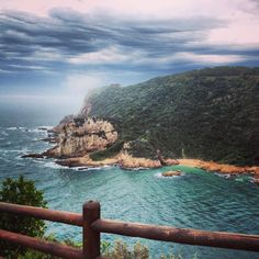 Looking at the west head from the eastern head: The Knysna Heads, Western Cape, South Africa.