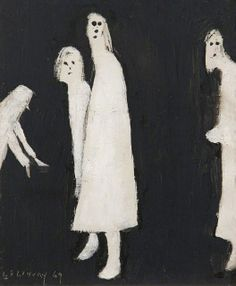"""dappledwithshadow: """"The Haunt Laurence Lowry 1969 The Lowry - Salford (Ireland) Painting - oil on board Height: 32 cm in.), Width: 29 cm in. Creepy Images, Creepy Pictures, Creepy Art, Weird Art, Arte Horror, Horror Art, Image Triste, Arte Lowbrow, Arte Obscura"""