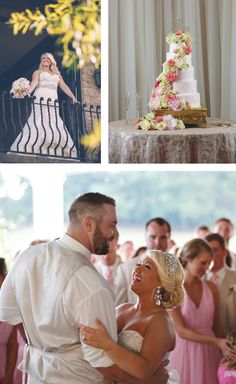 Love the white wedding cake with pink and green flower spray! View more from this classy pink Tri-Cities wedding under a tent! Pics by @ladonnacable, cake by The Cake Gallery, and jewelry, bridal gown, and bridal party attire via Annie's Room | The Pink Bride® www.thepinkbride.com