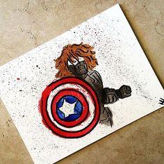 Bucky the winter soldier in watercolor ! #marvelcomics #marvel #painting #art #watercolor #buckythewintersoldier #buckythewintersoldier #captainamerica #disney #disneyart
