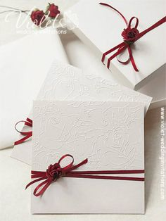 Handmade Wedding Stylish embossed dark red rose wedding invitation in a box from www. Handmade Wedding Invitations, Printable Wedding Invitations, Diy Invitations, Wedding Stationary, Invitation Wording, Invitation Suite, Invitation Design, Wedding Cards, Wedding Gifts