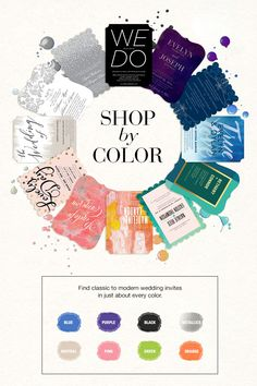 We've gone hue happy. Shop by color and find your perfect wedding invitation
