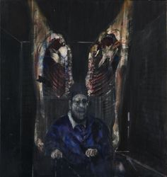 Screaming Bishop with meat. By Francis Bacon. Is this a comment on religion? Pontificating within the raw carcass of the church?