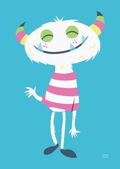 Take It Easy by greg abbott Cute Monster Illustration, Children's Book Illustration, Character Illustration, Cute Monsters, Little Monsters, Kids Prints, Art Prints, Greg Abbott, Monster Art