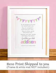 Girls Baptism Prayer  Personalized Wall Art with by SignsofFaith2, $14.00