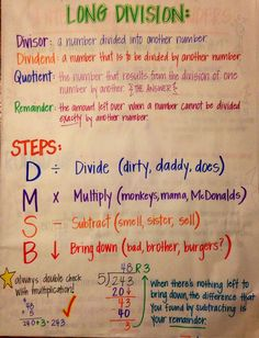 Long division anchor chart: Memorable saying that goes with DMSB is Dad, Mother, Sister, Brother Division Anchor Chart, Math Division, Teaching Long Division, Math Charts, Math Anchor Charts, Clip Charts, Math Strategies, Math Resources, Long Division Strategies