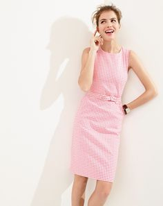 J.Crew women's belted gingham dress.