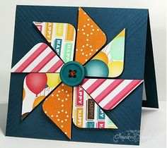 Create pinwheel by cutting four squares, cutting them in half, and then rounding off the indicated corners. Note the scoring on the card front. Change up the papers to make an adult or kid version for any occasion.