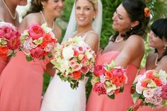 coral and mint bouquets