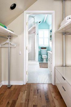 House of Turquoise: Jeanette Van Wicklen Design - Part Ikea closet shelving for Beach Colony? Attic Bedroom Designs, Attic Rooms, Attic Spaces, Small Spaces, Attic House, Attic Playroom, Attic Design, Attic Apartment, Interior Design