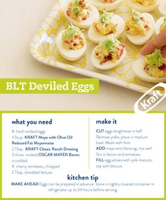 Bacon makes everything better—including deviled eggs. Here's our version of a BLT crossed with creamy eggs. #potluck