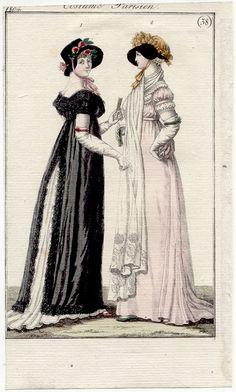 1804. German reprint from journal des dames (you can tell when it's a foreign reprint when there are two figures). Pinafore over white dress again.