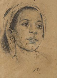 NICOLAI FECHIN (1881-1955). Balinese Girl, charcoal on paper, 39 x 29 cm
