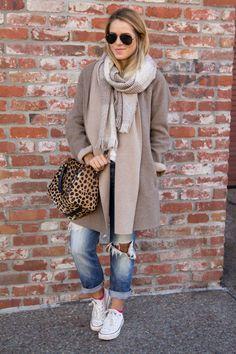 scarf/sweater coat/leopard bag/jeans/sneaks