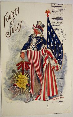 Vintage Fourth of July Postcard by riptheskull, via 4th Of July Images, Patriotic Images, Vintage Cards, Vintage Postcards, Vintage Ephemera, Vintage Images, Poster Vintage, Vintage Clip, Happy 4 Of July