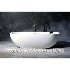 Modern 70-inch Solid Surface White Stone Freestanding Oval Bathtub - On Sale - Overstock - 24216226 Best Bathtubs, Soaking Bathtubs, Modern Bathtub, Modern Bathroom, Freestanding Bathtub, Master Bathroom, Bathroom Ideas, Bathroom Designs, Bath Ideas