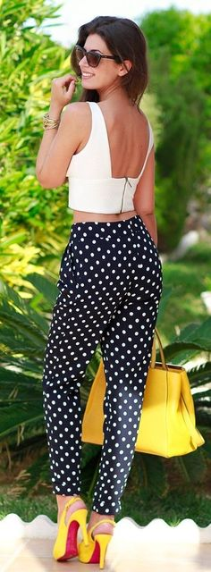 #summer #popular #outfitideas White Crop + Polka Dot Pants + Pop Of Yellow