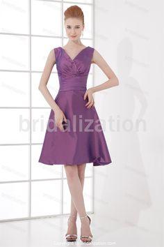 Dark Lilac Knee-Length Bow(s) Taffeta A-Line Bridesmaid Dresses