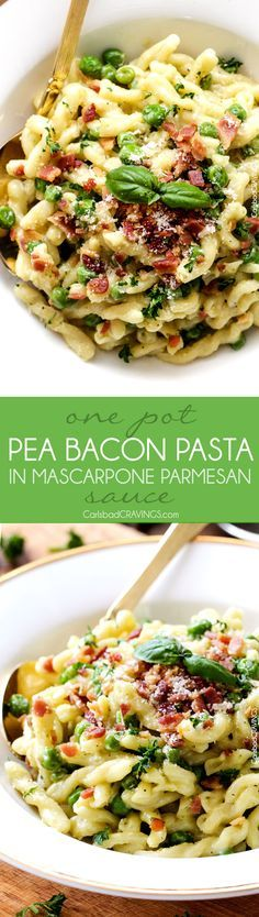 One Pot Pea and Bacon Pasta in Mascarpone Parmesan Sauce - A decadently delicious pasta and the EASIEST pasta you will ever make (seriously look at the directions)!